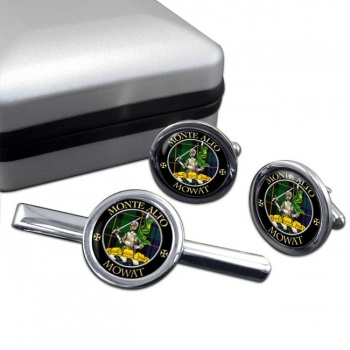 Mowat Scottish Clan Round Cufflink and Tie Clip Set
