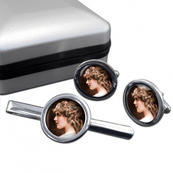 Mary Pickford Round Cufflink and Tie Clip Set