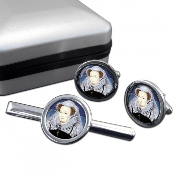 Mary Queen of Scots Round Cufflink and Tie Clip Set