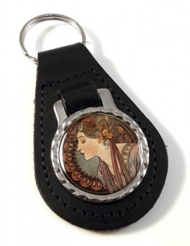 Vitrail a l'email by Mucha Leather Keyfob