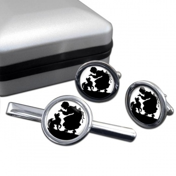 Mother Hubbard Round Cufflink and Tie Clip Sert