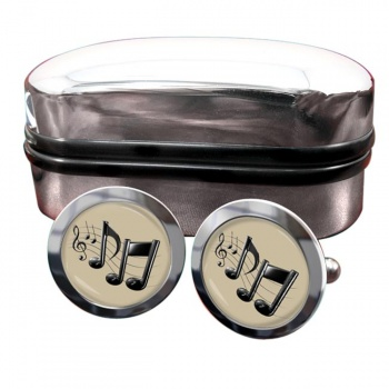Music Notes Round Cufflinks
