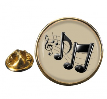 Music Notes Round Pin Badge