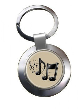 Music Notes Chrome Key Ring