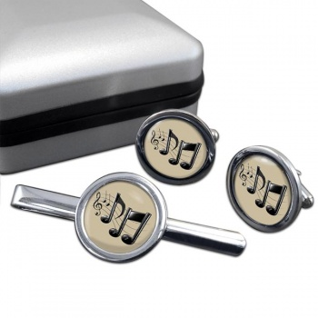 Music Notes Round Cufflink and Tie Clip Sert