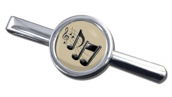 Music Notes Round Tie Clip