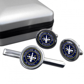 Maritime Warfare School (MWS) RN Round Cufflink and Tie Clip Set