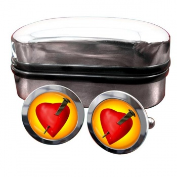 Passion Nail and Bleeding Heart Round Cufflinks