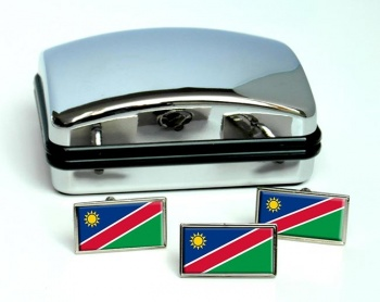Namibia Flag Cufflink and Tie Pin Set