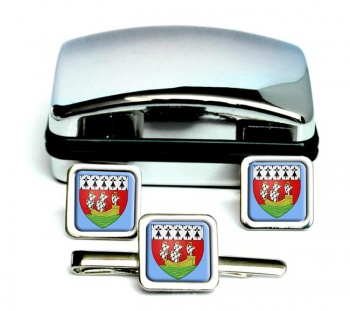 Nantes (France) Square Cufflink and Tie Clip Set