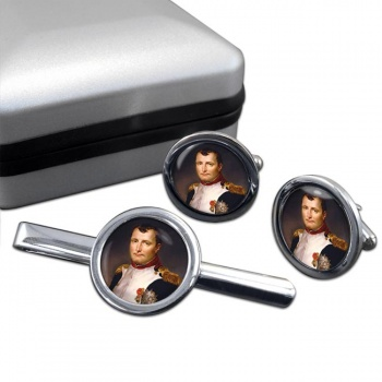 Napoleon Bonaparte 1812 Round Cufflink and Tie Clip Set