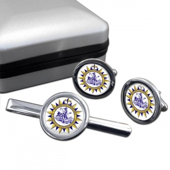 Nashville TN  Round Cufflink and Tie Clip Set