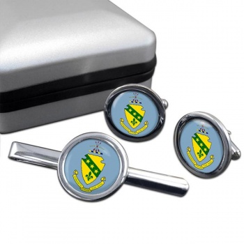 North Dakota  Round Cufflink and Tie Clip Set