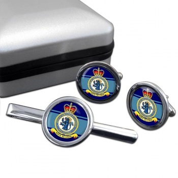 RAF Station Negombo Round Cufflink and Tie Clip Set