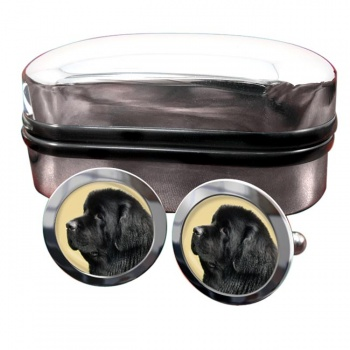 Newfoundland Dog  Round Cufflinks