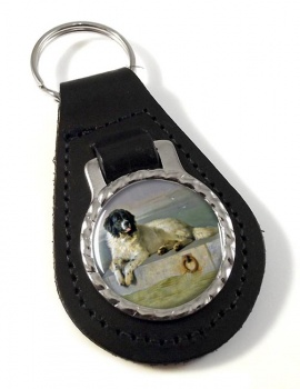 Newfoundland Dog by Landseer Leather Key Fob
