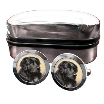 Newfoundland Dog by Reichert  Round Cufflinks