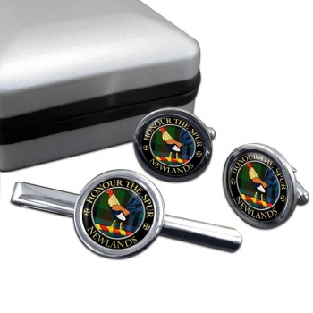 Newlands Scottish Clan Round Cufflink and Tie Clip Set