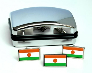 Niger Flag Cufflink and Tie Pin Set
