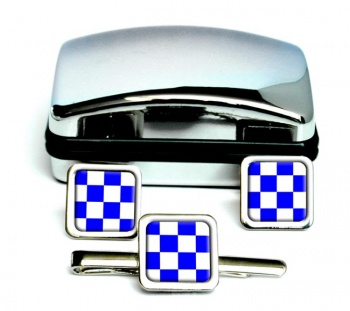November Negative Distress Flag Square Cufflink and Tie Clip Set