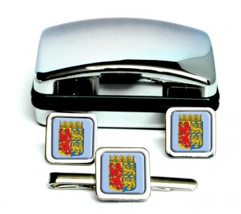 Noord-Holland (Netherlands) Square Cufflink and Tie Clip Set