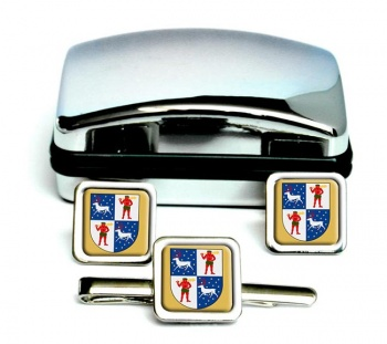 Norrbotten (Sweden) Square Cufflink and Tie Clip Set