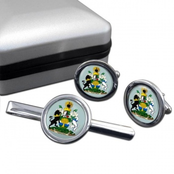 Nottinghamshire (England) Round Cufflink and Tie Clip Set