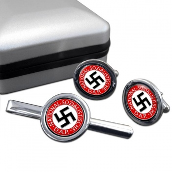 NSDAP Round Cufflink and Tie Clip Set