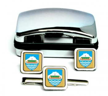 Nuuk Godthab Square Cufflink and Tie Clip Set