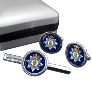 North Wales Police Round Cufflink and Tie Clip Set