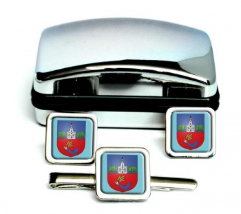 Nyiregyhaza Square Cufflink and Tie Clip Set