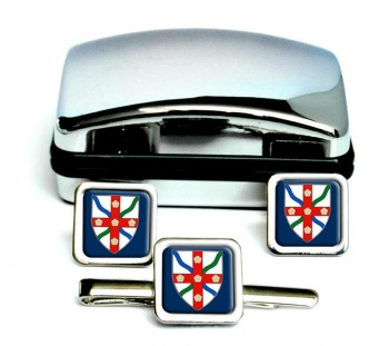 North Yorkshire (England) Square Cufflink and Tie Clip Set