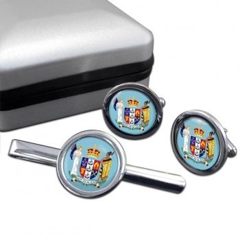 Coat of Arms (New Zealand) Round Cufflink and Tie Clip Set