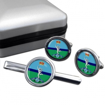 Royal New Zealand Corps of Signals Round Cufflink and Tie Clip Set