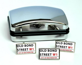 Old Bond Street Rectangle Cufflink and Tie Pin Set