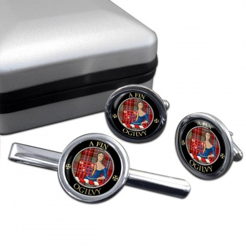 Ogilvy Scottish Clan Round Cufflink and Tie Clip Set