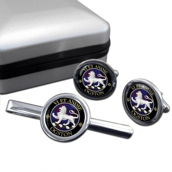 Ogston Scottish Clan Round Cufflink and Tie Clip Set
