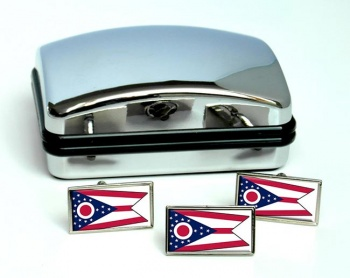Ohio  Flag Cufflink and Tie Pin Set