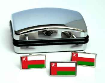 Oman Flag Cufflink and Tie Pin Set