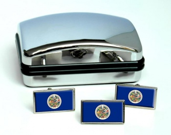 Organization-of-American-States-OAS Flag Cufflink and Tie Pin Set