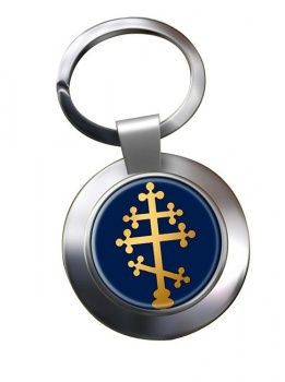 Orthodox Cross Leather Chrome Key Ring