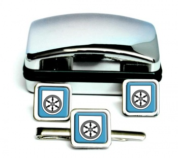 Osnabruck (Germany) Square Cufflink and Tie Clip Set