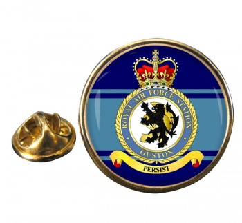 RAF Station Ouston Round Pin Badge
