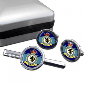 RAF Station Ouston Round Cufflink and Tie Clip Set