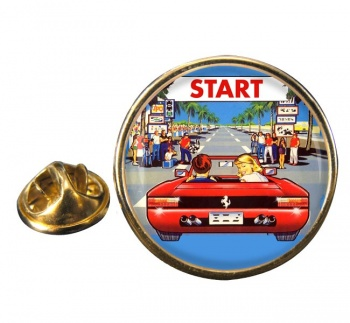 Outrun Game Round Pin Badge