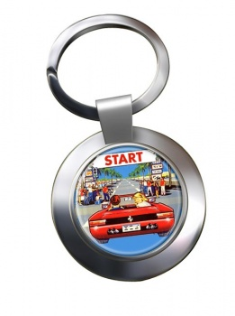 Outrun Game Chrome Key Ring