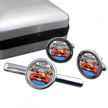 Outrun Game Round Cufflink and Tie Clip Sert