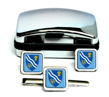 Oxfordshire (England) Square Cufflink and Tie Clip Set