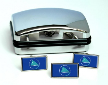 Pacific Community Flag Cufflink and Tie Pin Set