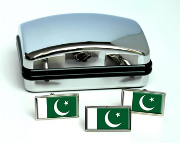 Pakistan Flag Cufflink and Tie Pin Set